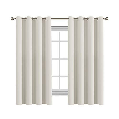 FlamingoP Living Room Curtains, Light Blocking Solid Pattern Drape, Noise Reducing, Grommet Top, One Panel 63 by 52 inch -Beige/Ivory