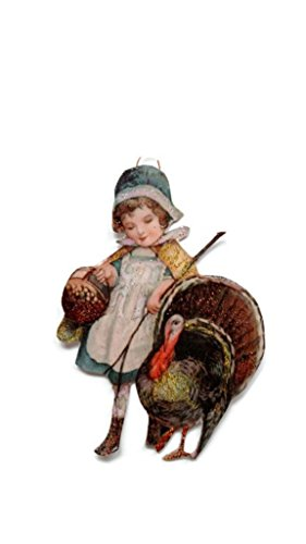 Thanksgiving Ornament Decoration Girl with her Turkey Handmade Holiday Gift