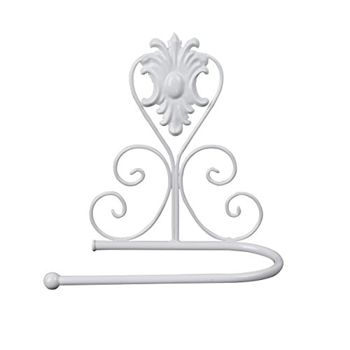 crownroyaljack Vintage Iron Wall Mounted Scroll Collection Toilet Paper Roll Holder Towel Rack, White