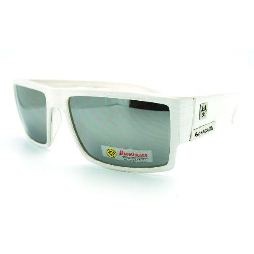 Biohazard Men's Hardcore Square Rectangular Thick Arm Gangster Sunglasses - White - Biohazard Sunglasses