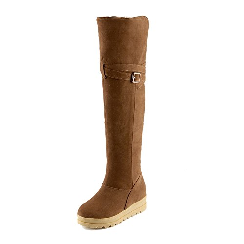 Allhqfashion Para Mujer Kitten-heels Frosted High-top Solid Pull-on Botas Marrón