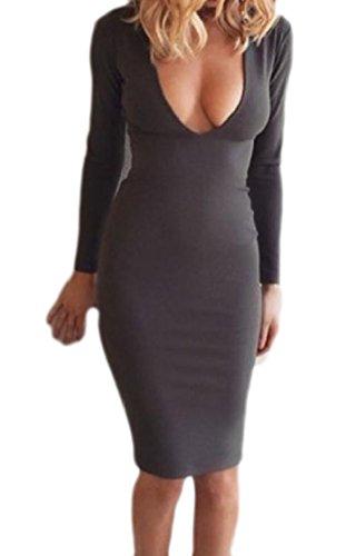 A Profondo Bodycon Pacchetto Coolred Lunga Vestito Manica Dell'anca V Fashional Grigio Sexy Scollo donne fwgwWFtqX