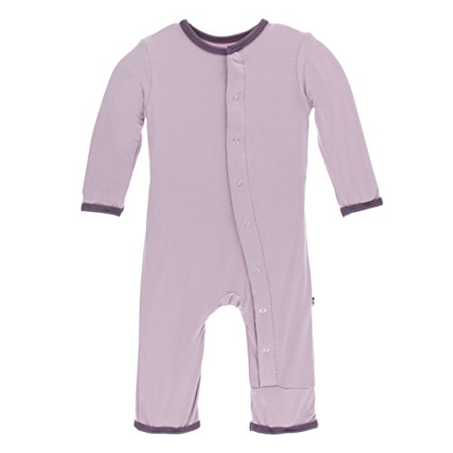 Kickee Pants Little Girls Solid Coverall with Snaps - Sweet Pea with Fig, 3-6 Months