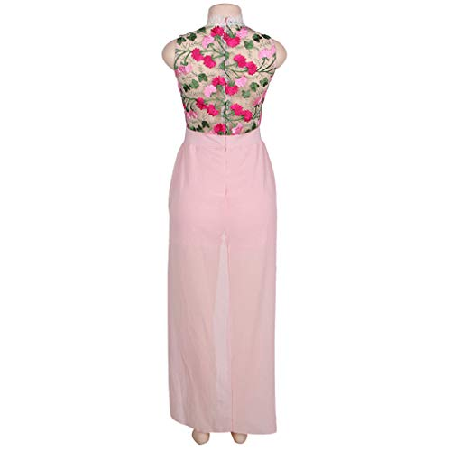 ❤️❤️ Women's Halter Neck Floral Print See Throught Split Beach Lace Romper Short Sleeve Party Maxi Dress Pink by Huitian23-Dress (Image #3)
