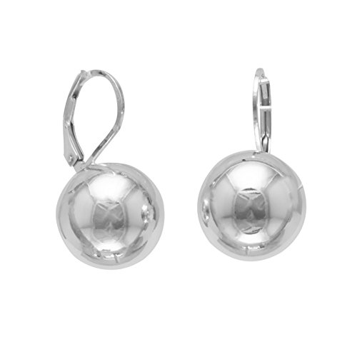 Sterling Silver Leverback Earrings, 14mm Bead/Ball, Italian by Silver Messages