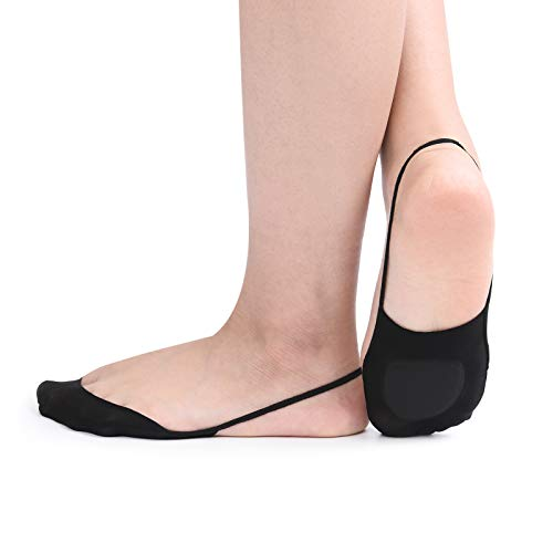 (Women's 6 Pairs Ultra Low Cut No Show Padded Half Liner Socks with Sling Back (Shoe-Size 8.5-10 US, black))