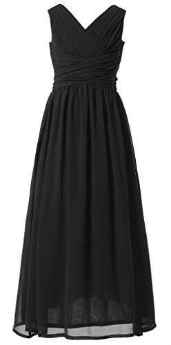 Happy Rose Flower Girl's Dress Party Dresses Juniors Long Bridesmaid Dress Black (Black Kids Dress)