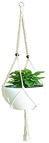Macrame Plant Hanger & Holder, Hanging Planter 2 Legs Indoor Outdoor Hanging Planter Basket 6 mm Cotton Rope 57 Inch (Flat) WITHOUT THE WHITE POT AND (Large Flat Planter)