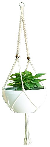Macrame Cotton Plant Hanger & Holder, Hanging Planter 2 Legs Indoor Outdoor Hanging Planter Basket 6 mm Cotton Rope 57 Inch (Flat) WITHOUT THE WHITE POT AND PLANT (Hanging Door Planter)