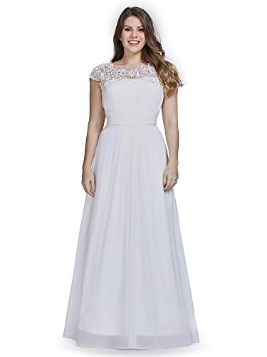 Ever-Pretty Womens A-Line Lace Plus Size Mother of The Groom Dresses for Women White US 18