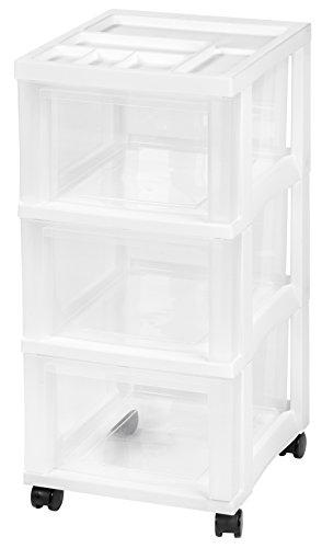 (IRIS 3-Drawer Rolling Storage Cart with Organizer Top, White)