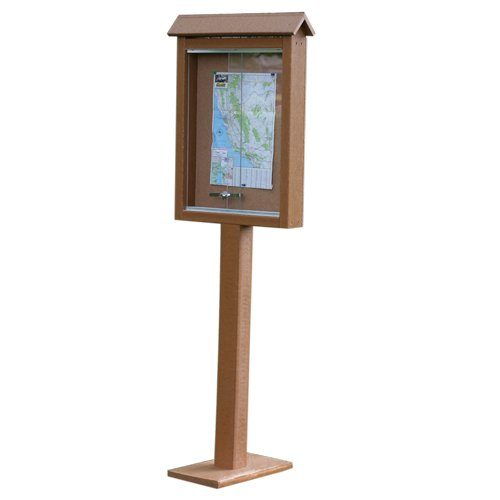 Small One-Sided Message Center w/ One Post - Cedar [Office Product] by Frog Furnishings