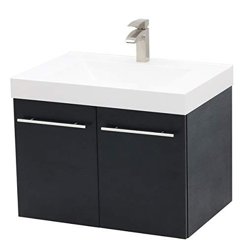 WindBay Wall Mount Floating Bathroom Vanity Sink Set. Black Vanity, White Integrated Sink Countertop - 29.25