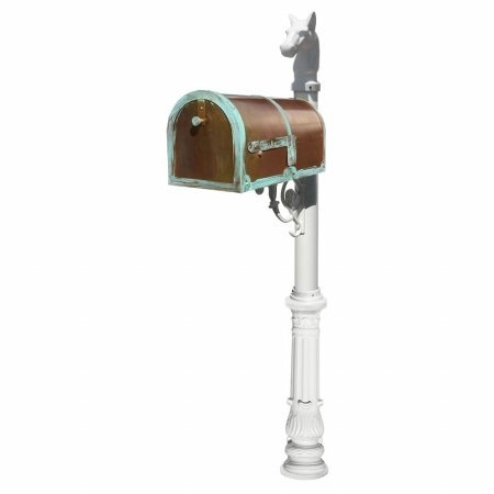Provincial Collection Brass Mailbox in Antique Brass Patina with decorative Lewiston post, #7 Ornate base and #1 Horsehead finial in White