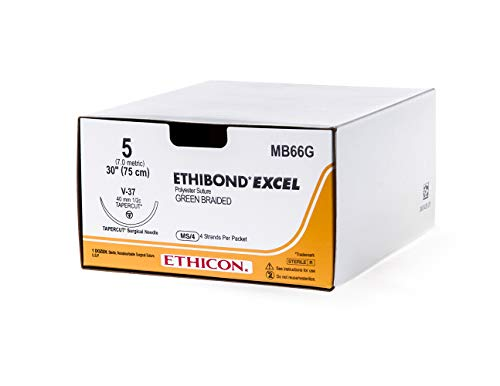 Ethicon ETHIBOND EXCEL Polyester Suture, MB66G, Synthetic Non-absorbable V-37 (40 mm), 1/2 Circle Needle, Size 5, 4x30