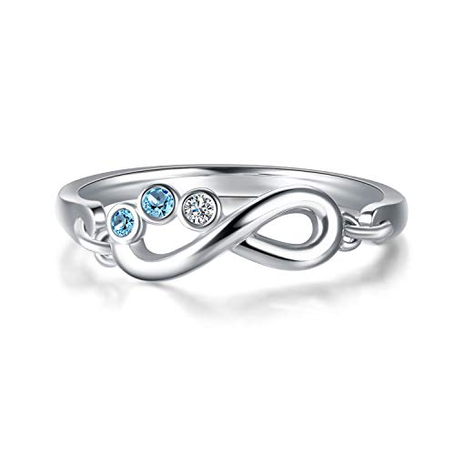 - AOBOCO Sterling Silver Infinity Ring with Aquamarine Swarovski Crystals,Fine Jewelry Anniversary Birthday Gifts for Women Girls