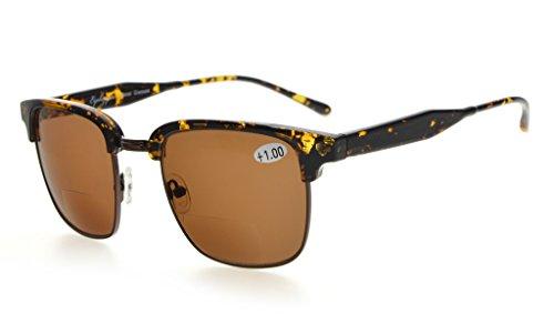 Eyekepper Mens Bifocal Sunglasses Semi-Rimless Brown Lens +3.0 (Sunglasses Rimless Bifocal)