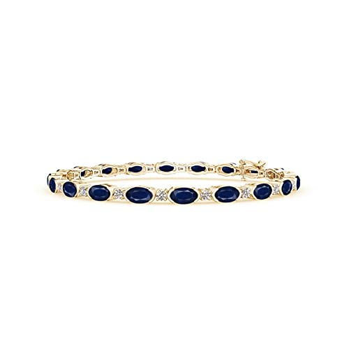 Semi Bezel-Set Oval Sapphire and Diamond Tennis Bracelet in 14K Yellow Gold (5x3mm Blue Sapphire)
