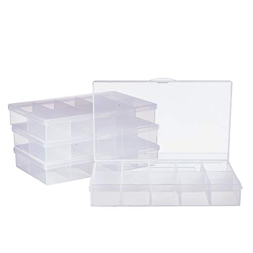 PandaHall Elite 6 Pack 10 Grids Jewelry Dividers Box Organizer Clear Plastic Bead Case Storage Container for Beads, Jewelry, Nail Art, Small Items Craft Findings 16.2x10x2.6cm, Compartment: 4.5x3cm ()
