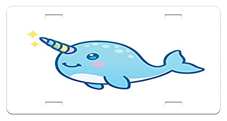 Whale Ambesonne Narwhal License Plate Cartoon Drawing Style Whale With Rainbow Horn Unicorn Of The Ocean Amazoncom Amazoncom Ambesonne Narwhal License Plate Cartoon Drawing Style