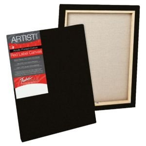 Tara T50229 Red Label 16 in. x 20 in. Standard Stretched Black Canvas - Pack of 6