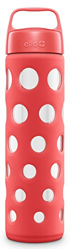 Ello Pure 20-Ounce BPA-Free Glass Water Bottle with Lid, Coral Fizz