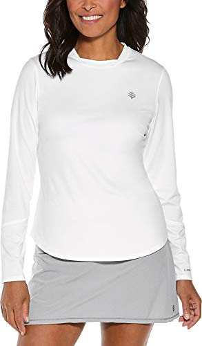 Antimicrobial Long Sleeve Jersey - Coolibar UPF 50+ Women's Long Sleeve Match Point Tee - Sun Protective (XX-Large- White)