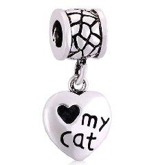 Love My Cat Heart Dangle Charm