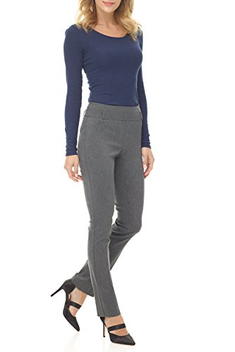Rekucci Women's Ease in to Comfort Fit Stretch Slim Pant (4,Charcoal)