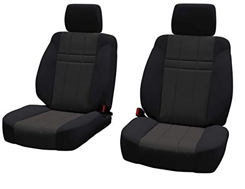 Front Seats: ShearComfort Custom Neoprene-Style Seat Covers for Toyota Tacoma (2016-2019) in Black w/Charcoal for Buckets w/Adjustable Headrests