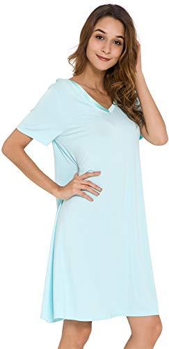 GYS Women's Short Sleeve Nightshirt V Neck Bamboo Nightgown, Aqua, Small -