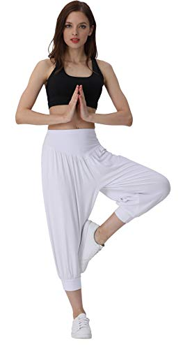 Hoerev Women's Super Soft Modal Spandex Harem Yoga Pilates Capri Pants White ()