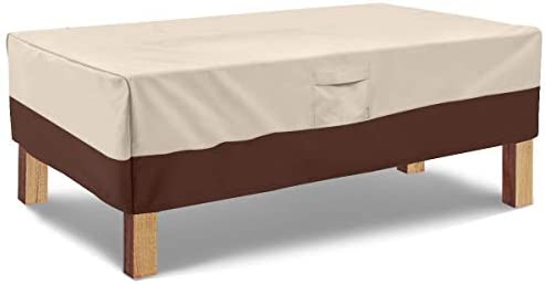 Vailge Rectangular Coffee Table Cover – Outdoor Lawn Patio Furniture Covers with Padded Handles and Durable Hem Cord – Heavy Duty and Waterproof,Fits Large Rectangular Coffee Table Beige Brown