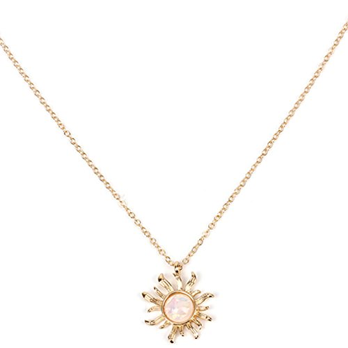 Dolland Women Sun Pendant Necklace Yellow Gold Tone Bright Light Sun Opal Clavicle (Nickel Sunflower)