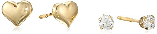 Hallmark Jewelry Girls 14k Gold Cubic Zirconia and Heart Stud Earrings, 2 Pair Set