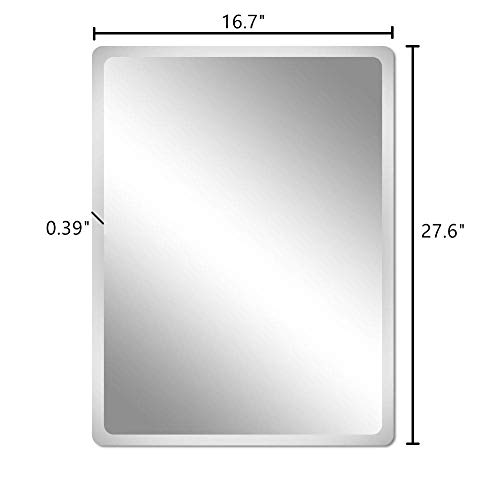 Beauty4U Frameless Rectangle Mirrors – 16.7 x 27.6inch Beveled Wall Mirror HD Vanity Make Up Mirror for Wall D cor