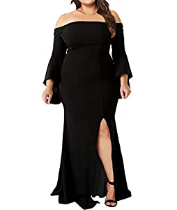 Innerger Women Plus Size Off Shoulder Bodycon Party Dress Evening Formal Gown
