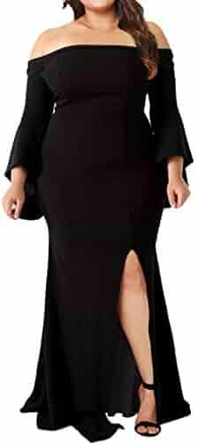 691102ae17fe Lalagen Women s Plus Size Off Shoulder Bodycon Long Evening Party Dress Gown