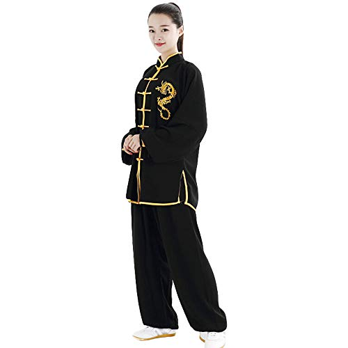 ZooBoo Unisex Cotton and Silk Dragon Embroidery Long Sleeves Tai Chi Uniform Suit Martial Arts Wing Chun Clothing (M, Black)