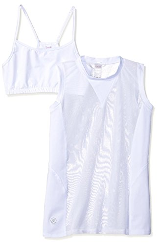 Electric Yoga Women's Overlaying Mesh Top, White, L from Electric Yoga