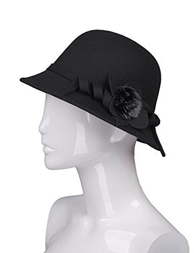 Black Satin Cloche Hat (AURORA Vintage Spring Bucket Felt Hat for Women with Satin Flower,Black Cloche,One Size)