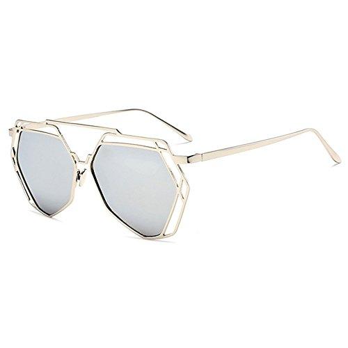 Botetrade New Big Spiegel Sonnenbrille Damen Herren Hexagon Hippie UV400 Pilot Aushohlen Sonnenbrillen for Liebhaber C5