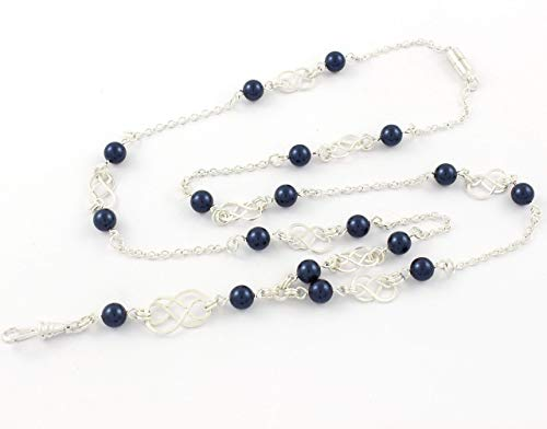 Brenda Elaine Jewelry | Real Silver Plate | Women's Fashion Lanyard Necklace for ID Badge Holders | 32 Inch Silver Chain with Silver Celtic Knots and Night Blue Pearls & Rear Magnetic Break Away Clasp