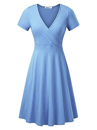 MSBASIC Wrap Dress Petite Length Dress for Women Elegant Midi SkyBlue -
