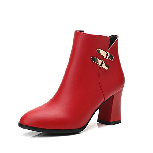 HOESCZS 2019 Pu Leder Frauen Schuhe Plattform Reißverschluss Frauen Stiefeletten Mode Winter Schuhe Damen Motorradstiefel Größe 34-43