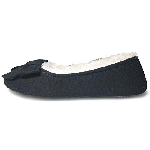 Cior Fantiny Femmes Confortables Pantoufles Ballerine Douce Semelle Velours Chaussures Dintérieur Élégant Noir01