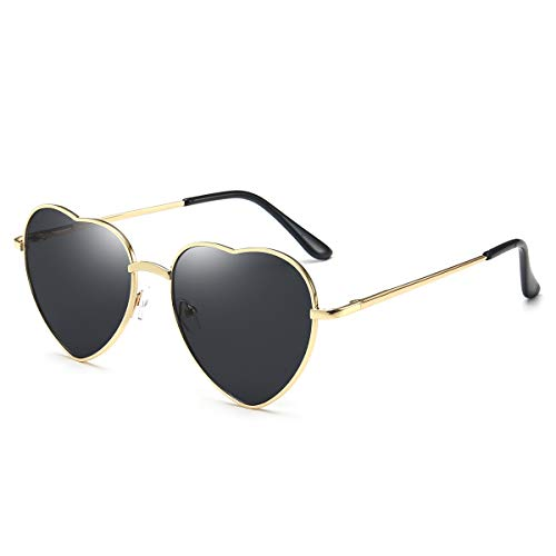 Dollger Heart Sunglasses for Women Polarized Style Mirror Lens Metal Gold ()