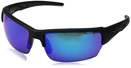 Wiley-X CHSAI29 Wx Saint Changeable Sunglasses Polarized Blue Mirror, Black