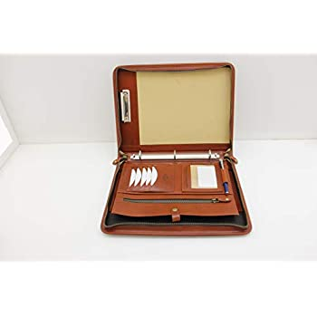 Document,Tablet Resume Noda Executive Italian Leather Padfolio 3 Ring Binder Professional Business Portfolio w//Zippered Closure Clipboard Writing Pad Organizer Men Brown Women with Handle