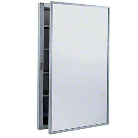 Bobrick 299 304 Stainless Steel Surface Mounted Medicine Cabinet Satin Finish 17 Width X 26 7 8 Height X 5 Depth 4 Shelves